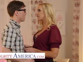 'Naughty America - Sophia West wants to get porked by a huge cocked geek'