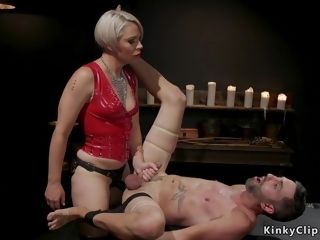 Mother female domination in spandex pummels victim