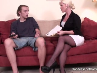 Step-mom feetjob