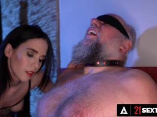 'Femdom Hunny Teases older Man's man sausage Into Submission'