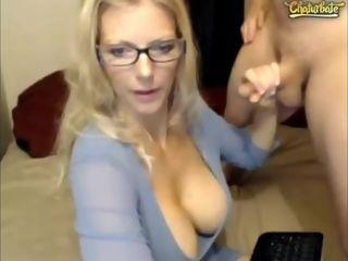 Huge-titted blondie mom cam hj