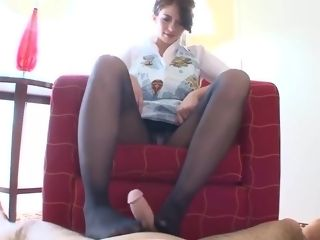 Stockings footjob wifey
