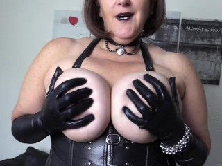 Leather Fetish stepmother wants toy to have fun with her gigantic hooters