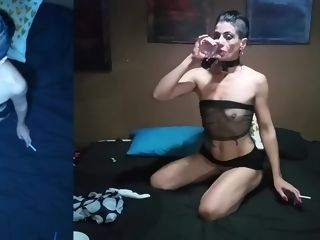 Handsome Smoking vid with Cleo ass licking and gargling prick plus supreme plumb