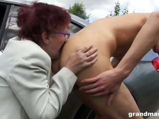 Crazy grandmother gives a blow-job and tugjob to one coddled youthfull fellow