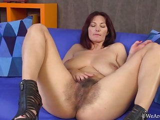 Immensely furry Vanessa J in zippered high-heeled shoes