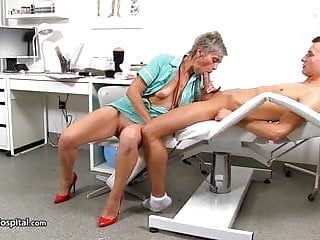 Spunk extracted by mature nurse Beate