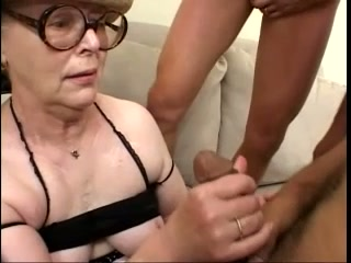 Grandma with antique obese glasses deep throating cocks of dudes
