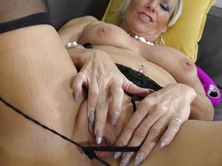 Brusque Haired Granny Fingers the brush Pussy