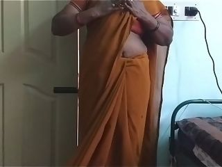 Desi north indian mischievous hotwifey wifey dressed in saree vanitha displaying good-sized melons and bald coochie press firm melons press nipple paw