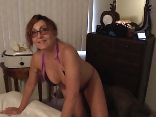 Bathing suit cougar mother peels off to strap bathing suit