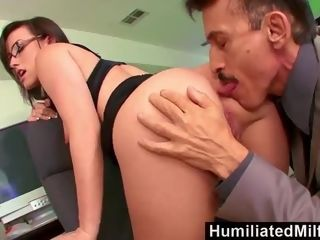HumiliatedMilfs Jennifer milky leaned Over The Office tabouret porked