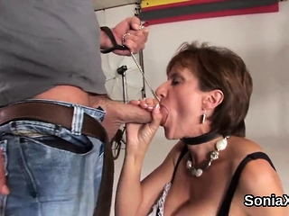 Unfaithful brit mature chick sonia exposes her meaty congenital
