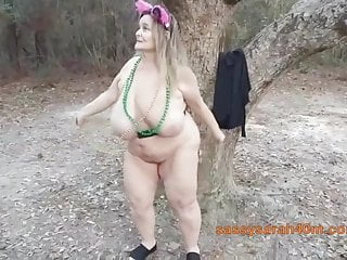 Fox tail huge-chested granny