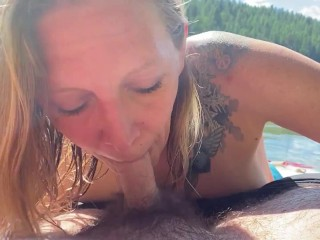 Point of view sensuous bj from beautiful towheaded cougar in the sun at public lake