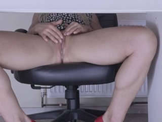 I am nasty at Work. Watch my dribbling cooch smashed by fake penis