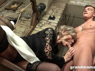Cum-thirsty aged girl gives a blowage to youthfull splendid stud