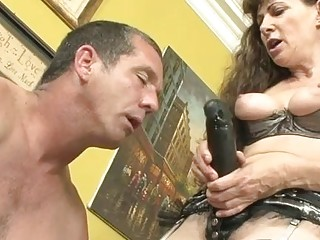 Frightful brown-haired wears strap-on for grinding the butthole of insane boy